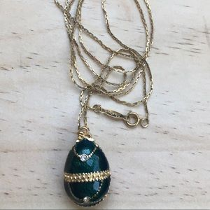 Vintage enameled egg necklace